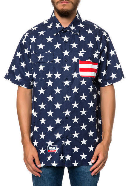 DGK Americana Customs SS Woven Men's Shirt DSS-117 NAVY Famous Rock Shop Newcastle 2300 NSW Australia