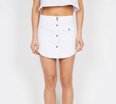 Dead Studios Distressed Denim Skirt White