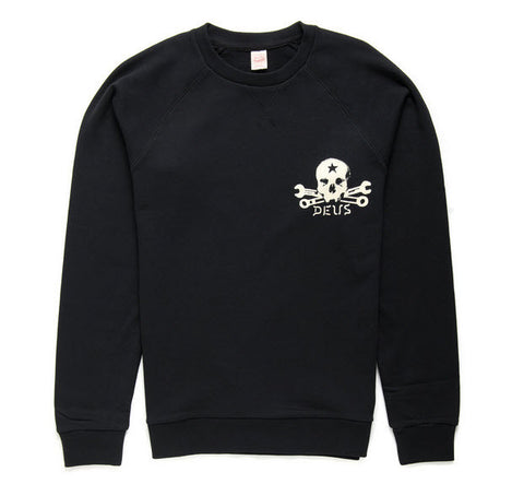 Deus Ex Machina Milano Address Skull Crew Jumper - Black DMA4B259C