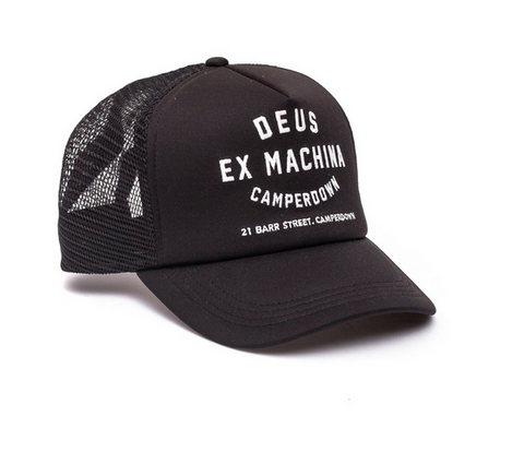 Deus Camperdown Address Trucker Black Cap DMA47621