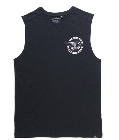 Deus Ex Machina Cycleworks Muscle Tee Black DMS51738 Mens collection. This regular fit muscle features plastisol chest and back prints of original Deus Cycleworks artwork Famous Rock Shop 517 Hunter Street Newcastle 2300 NSW Australia