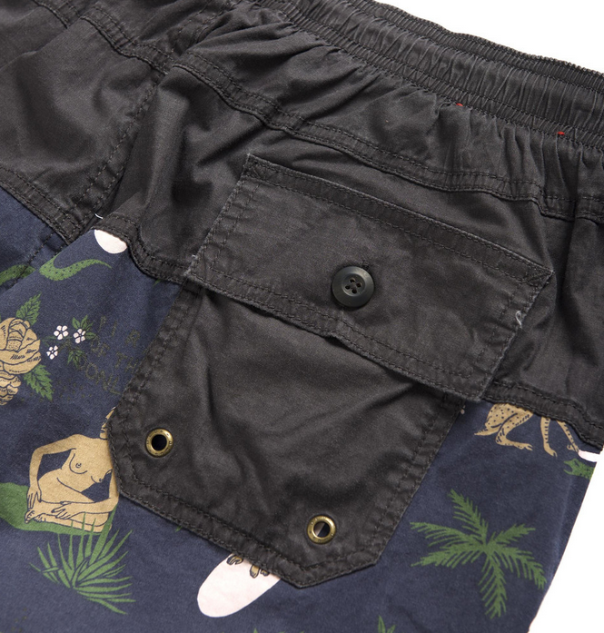 Deus Ex Machina 'Rugby Land Short' Washed Blue DMP53198C. These elasticated rugby shorts feature a natural rope drawcord, back patch pocket and a waterbased land yardage print, with overdyed 100% cotton fabrication  Famous Rock Shop 517 Hunter Street Newcastle 2300 NSW Australia