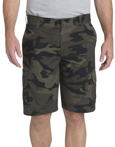 "Dickies 11"" Relaxed Fit Lightweight Ripstop Cargo Shorts, Moss Green/Black Camo WR351"