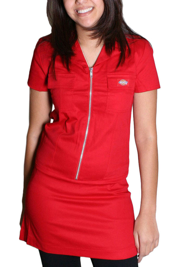 Dickies Girl Annie Zipper Front Dress Red  Famous Rock Shop  Newcastle 2300 NSW Australia