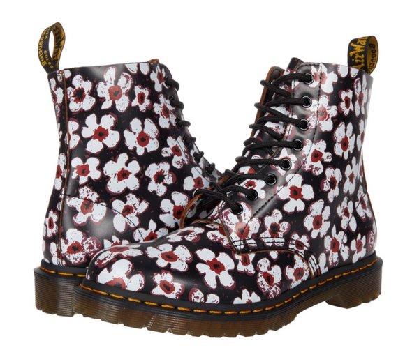 Dr Martens 1460 Pascal Pansy Fayre Vintage Smooth Black Red Flowers Boot 26456002