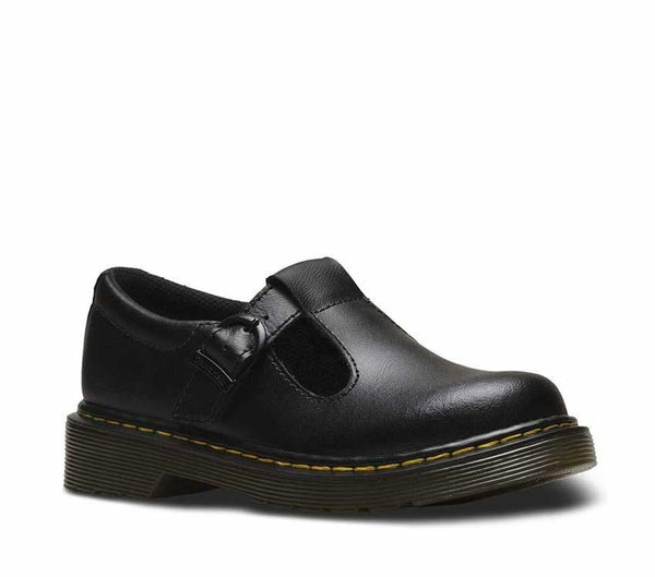 Dr Martens Polley Junior Black Smooth 2438601 Youth T-Bar Sandals