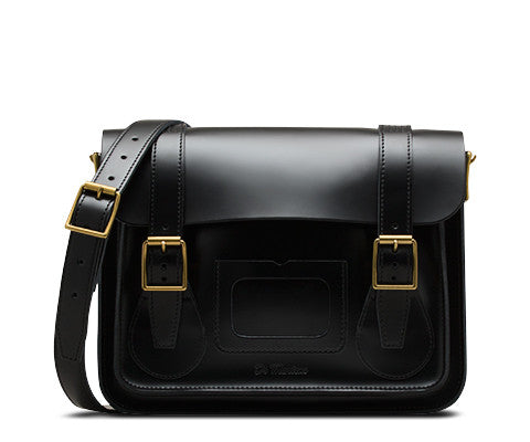 "Dr Martens 11"" Black Smooth Leather Satchel"
