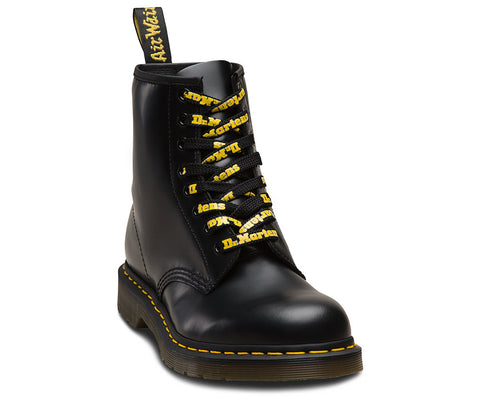 Dr Martens 140cm Black Yellow Logo Laces AC756017 Famous Rock Shop Newcastle, 2300 NSW. Australia. 1