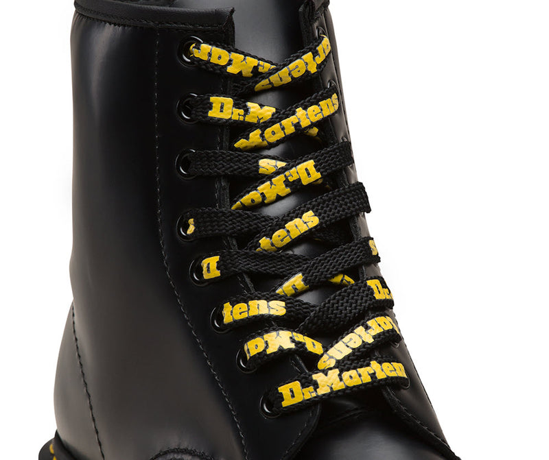Dr Martens 140cm Black Yellow Logo Laces AC756017 Famous Rock Shop Newcastle, 2300 NSW. Australia. 2