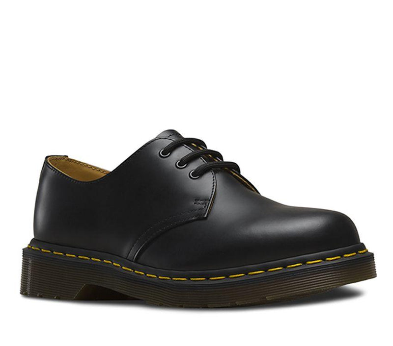 Dr Martens 1461 Black Smooth Leather Yellow Stitch Shoe