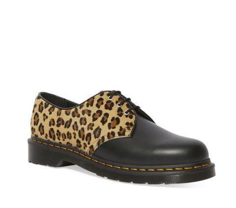 Dr Martens 1461 Black Smooth Medium Leopard + Hair On Shoe
