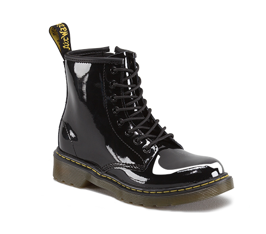 Dr Martens Youth Delaney Black Patent Leather Boot Youth
