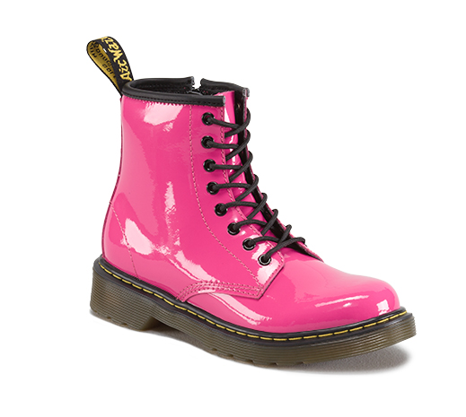 Dr Martens Youth Delaney Hot Pink Patent Leather Boot Youth