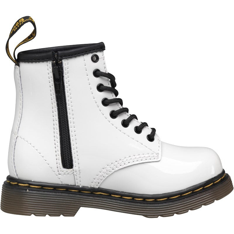 online store reputable site first look Dr Martens Infants Brooklee White Patent Lamper Boots 15373100