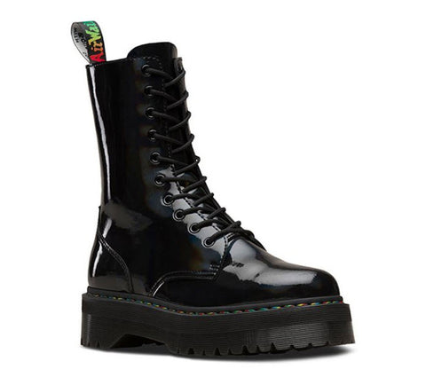 Dr Martens Jadon Hi Rainbow Patent Black Rainbow 24668001 Famous Rock Shop Newcastle, 2300 NSW. Australia. 1