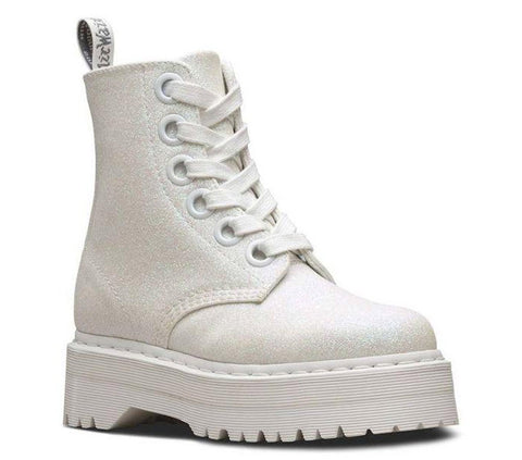 Dr Martens Molly Glitter Iridescent White Glitter PU 24860123 Famous Rock Shop Newcastle, 2300 NSW Australia. 1