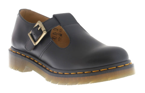 Dr Martens Polley Black Smooth T-Bar Sandals 14852002