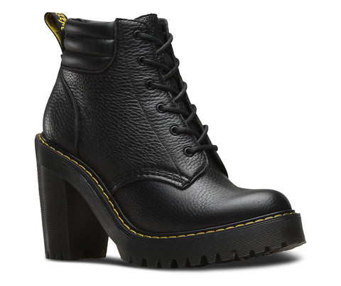 Dr Martens Persephone Aunt Sally Black Leather Heel Boot