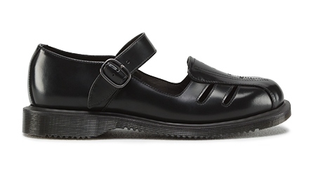 Dr Martens Deardra Polished Smooth Black Leather Sandals