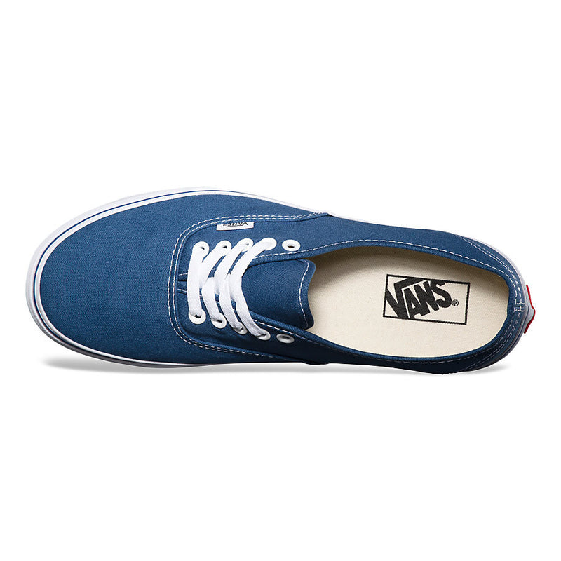 Vans Authentic Navy Canvas The Authentic, Vans original and now iconic style, is a simple low top, lace-up with durable canvas upper, metal eyelets, Vans flag label and Vans original Waffle Outsole.  Famous Rock Shop Newcastle 2300 NSW Australia
