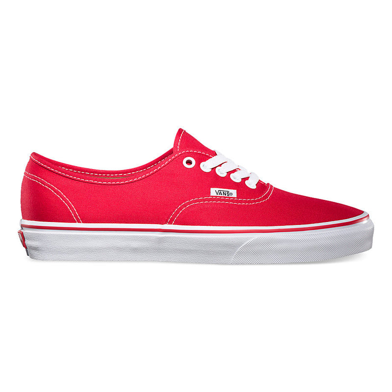 Vans Authentic Red CanvasThe Authentic, Vans original and now iconic style, is a simple low top, lace-up with durable canvas upper, metal eyelets, Vans flag label and Vans original Waffle Outsole. Famous Rock Shop Newcastle 2300 NSW Australia