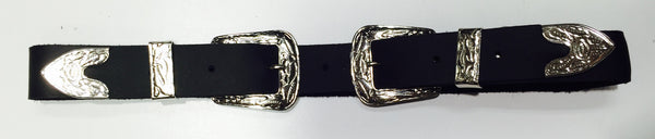 FRSW211 Double Buckle Silver Leather Belt Famous Rock Shop