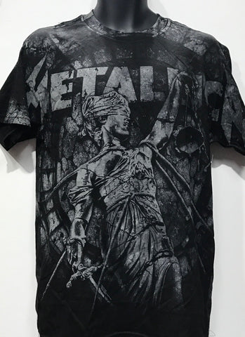 Metallica Men's Tshirt And Justice For All Allover Print Black/Grey