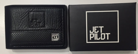 Jetpilot Air Raid Leather Wallet Black