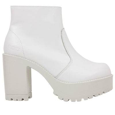 Roc Boots Gosh White Leather Ankle Boots with Zip