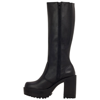 b59b3329be Roc Boots Gusto Black Leather Knee High Boots with Zip – Famous Rock ...