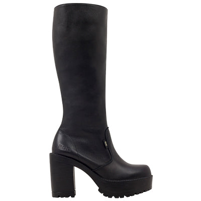 Roc Boots Gusto Black Leather Knee High Boots with Zip