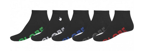 Globe Boys Stealth Sport Black Ankle Socks 5 Pack