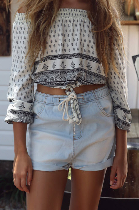 Harlow Aztec Cream Crop