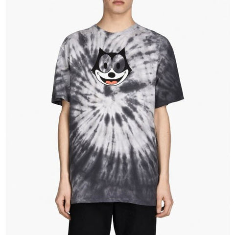 HUF X Felix The Cat Hypnotize Spiral Tie Dye Black Tee Famous Rock Shop Newcastle, 2300 NSW. Australia. 1