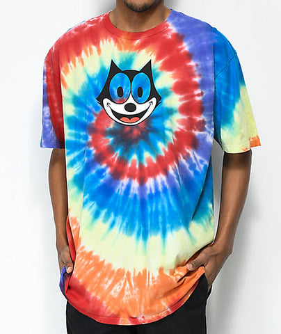 HUF X Felix The Cat Hypnotize Spiral Tie Dye Rainbow Tee Famous Rock Shop Newcastle, 2300 NSW. Australia. 1