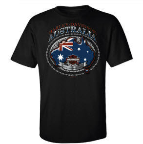 Harley Davidson 'Aussie Live to Ride' T-Shirt Famous Rock Shop Newcastle 2300 NSW Australia