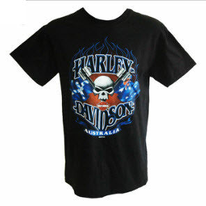 Harley Davidson Australian Piston Skull Black  T-Shirt Famous Rock Shop Newcastle 2300 NSW Australia