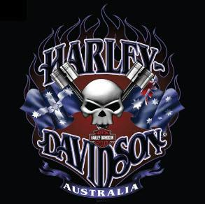 Harley Davidson Australian Piston Skull Black Long Sleeve T-Shirt Famous Rock Shop Newcastle 2300 NSW Australia