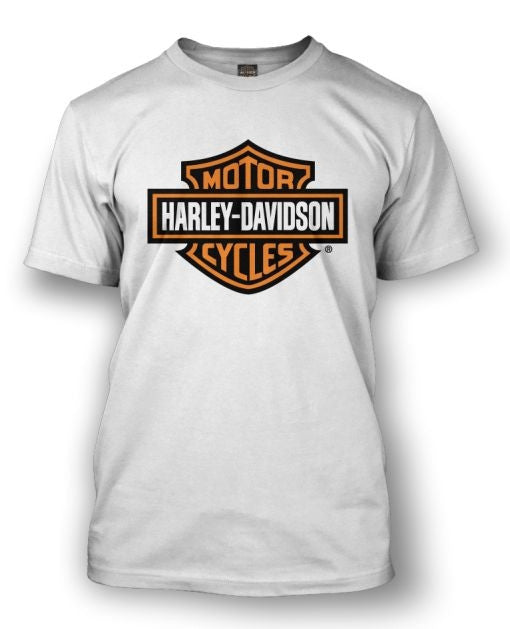Harley Davidson Bar & Shield White T-Shirt. Men's Sizing.  Famous Rock Shop Newcastle 2300 NSW Australia