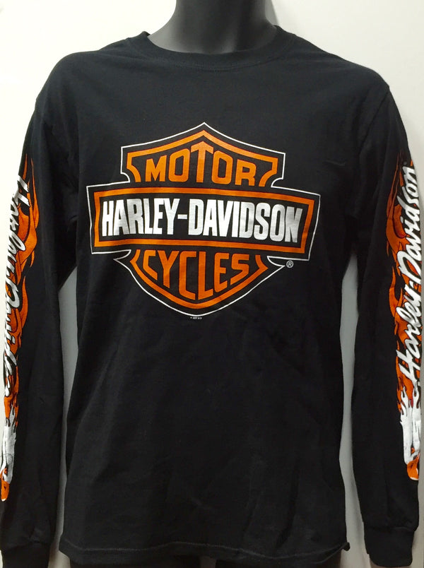 Harley Davidson Eagle Flame Long Sleeve Tee Black 53553001 Famous Rock Shop. 517 Hunter Street Newcastle, 2300 NSW.