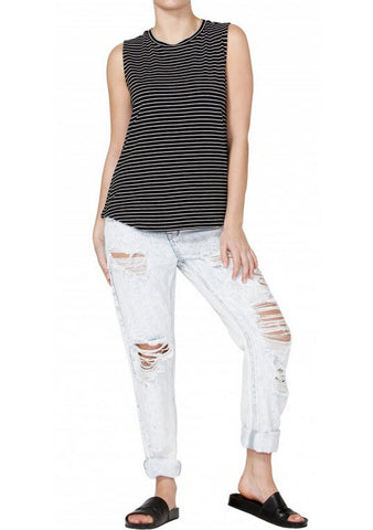 Betty Basics Capri Tank Black/ White Stripes