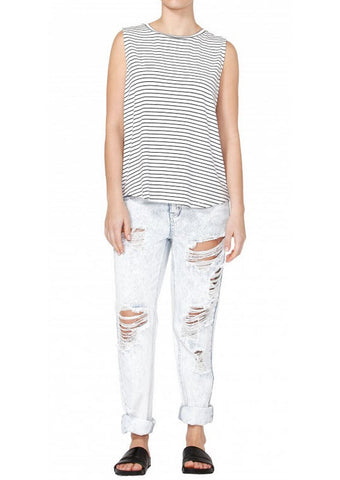 Betty Basics Capri Tank White/ Black Stripes