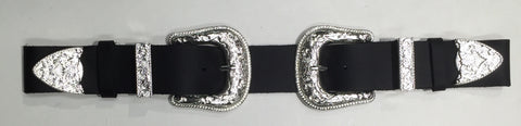 FRSW210 Double Buckle Antique Silver Leather Belt Famous Rock Shop