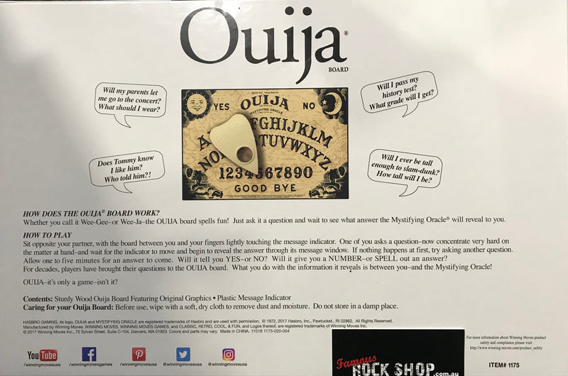 Ouija Board Sturdy Wood Board With Original Graphics Famous Rock Shop Newcastle NSW Australia