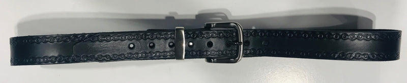 Leather Belt with Silver Brush Buckle Black Chain pattern Made in Australia Famous Rock Shop Newcastle Australia