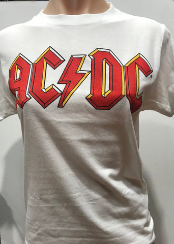 ACDC Classic Logo white men's med boys or med girls acd019 Famous Rock Shop Newcastle 2300 NSW Australia