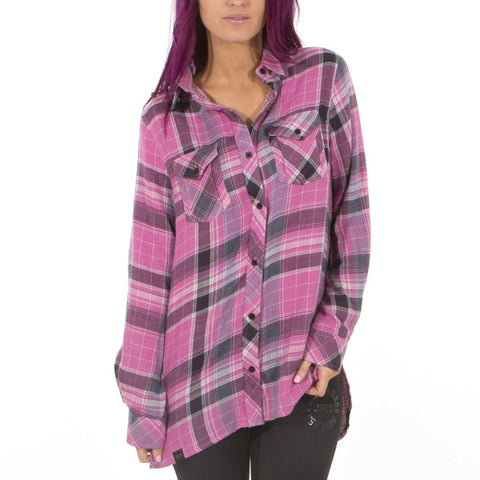 Jetpilot Baddies Ladies Flanno Pink W16050 Famous Rock Shop. 517 Hunter Street Newcastle, 2300 NSW Australia