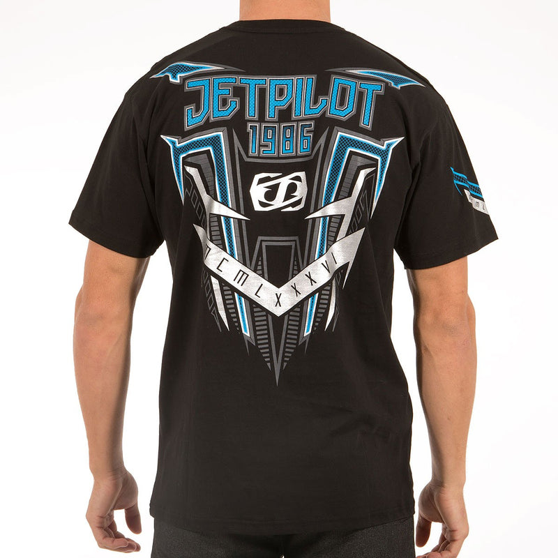 Jetpilot Collective 2S15 Men's Tee Black Blue 2S15643. Fabrication: 175gsm 100% Cotton Three Colour Front Print / Three Colour Sleeve Prints / Three Colour Back Print With Metallic Inks Internal Screen-Printed Label  Famous Rock Shop. 517 Hunter Street Newcastle, 2300 NSW Australia