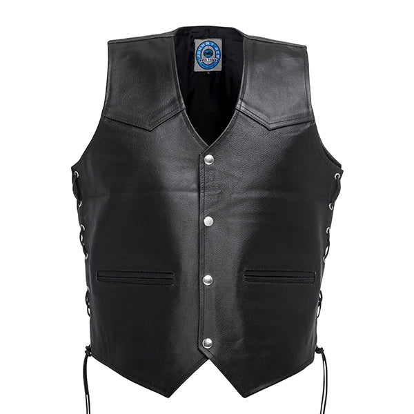 Johnny Reb Tasman Leather Vest Black Leather JRV10002 Famous Rock Shop Newcastle 2300 NSW Australia
