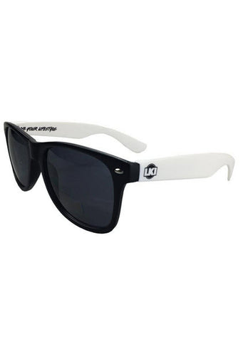 LKI Sunglasses Black White LKI Promotional Sunglasses Contrast coloured arms with logos Good UV protection Famous Rock Shop. 517 Hunter Street Newcastle, 2300 NSW Australia